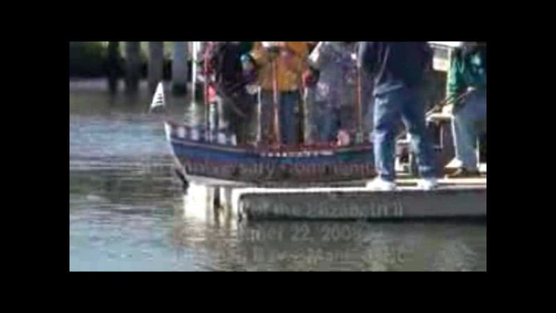 Video of the launching of Elizabeth II 10% scale replica