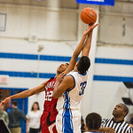 Eastern\'s Trey Moses (32) controlled the tip in front of the home crowd.