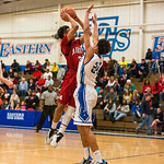 Manual\'s Chris West (3) took a shot over Eastern\'s Caleb WIlliams (24).