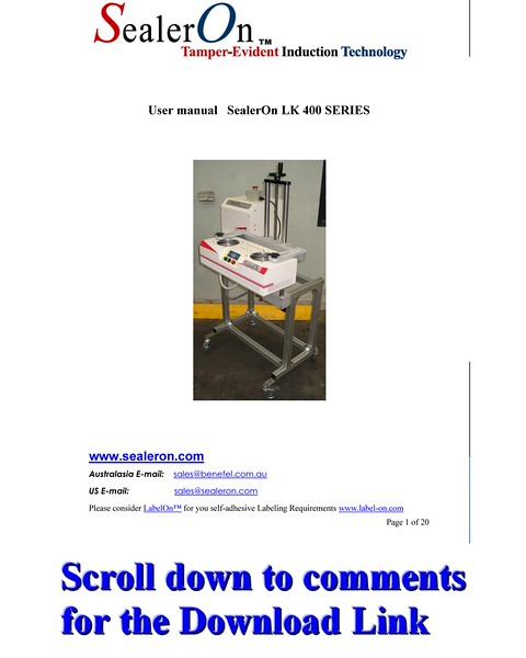SealerOn™ 400/500 Manual Download Link - see Comments Below