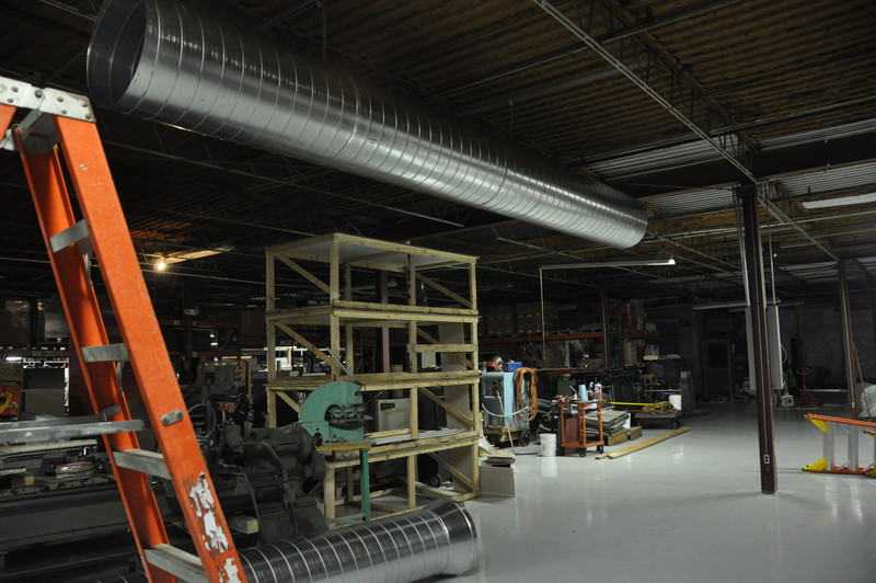 First piece of ductwork hung for new HVAC system.