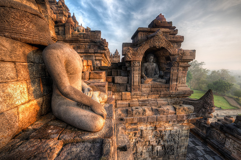 Golden Buddha Sunrise.  Borobudur, Indonesia
