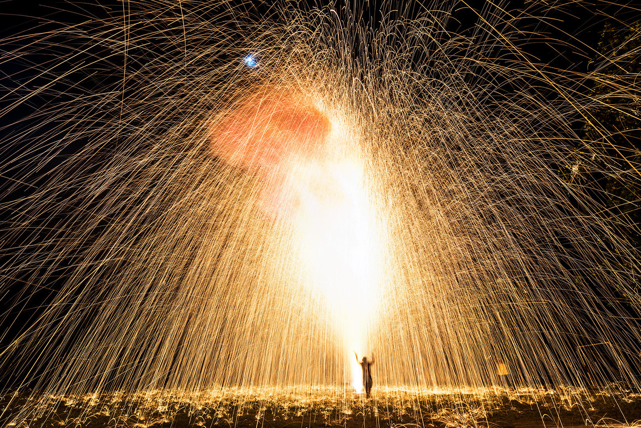 Bamboo Fireworks - an excersize of faith.  Chiang Mai, Thailand