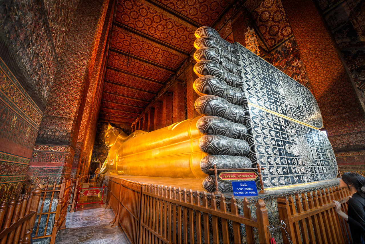 The great relining buddha.  Bangkok, Thailand.