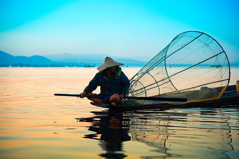 Waiting for the fish in Inle Lake, Myanmar