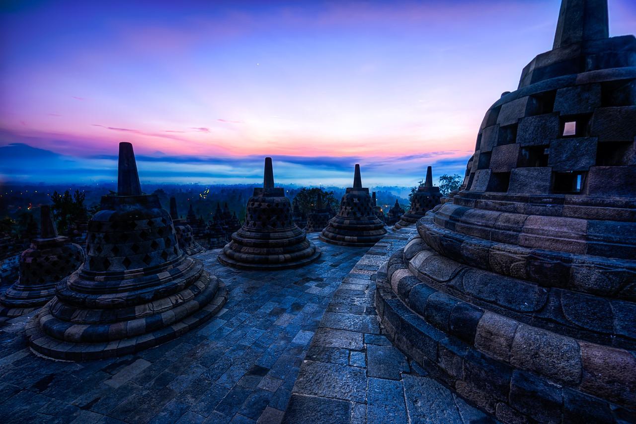 The bells of Borobudur.  Borobudur, Indonesia