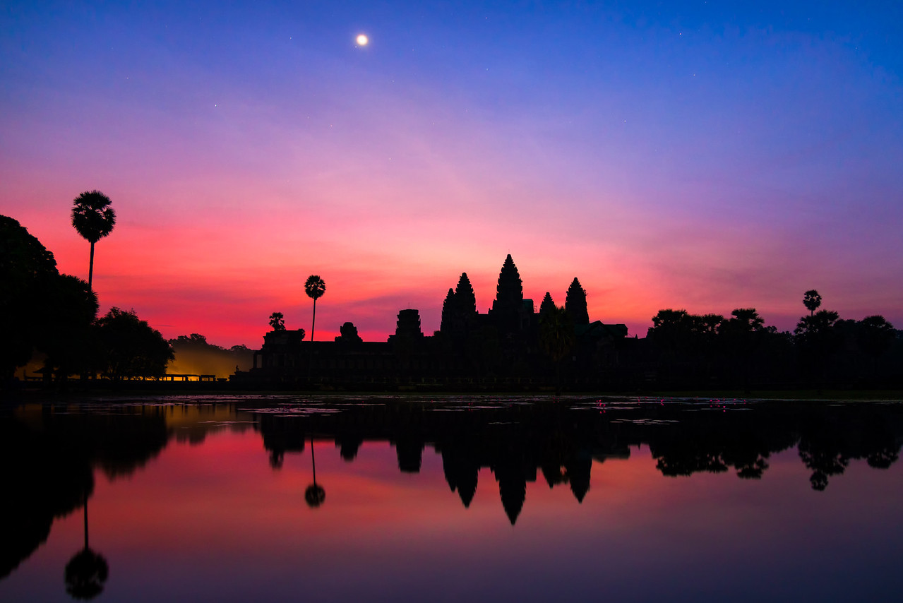 A serene morning reflection near Angkor Wat, Siem Reap, Cambodia