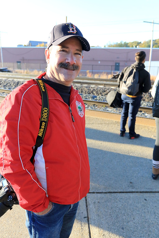. The Red Sox World Series Parade was held on Wednesday morning in Boston. Many took the train from Fitchburg into Boston so they did not have to drive. Fitchburg firefighter Rick Jollimore on his way to Boston by way of train. SENTINEL & ENTERPRISE/JOHN LOVE