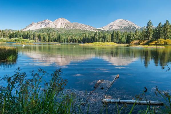 Cascade Mountains; Lassen Volcanic National Park; california; lake; lakes; manzanita lake Looking over Manzanita Lake and towards Chaos Crags (left) and Lassen Peak (right).