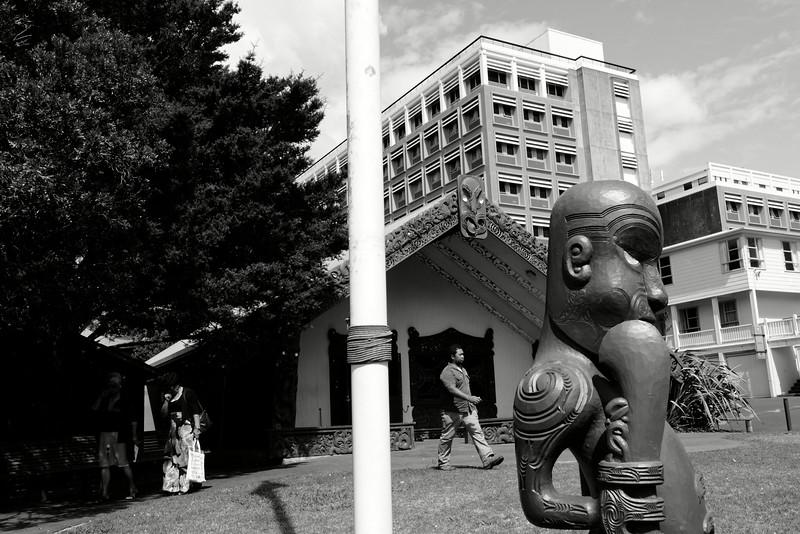 """Le marae Waipapa au sein du département des """"Maori & Pacific Studies"""" à l'université d'Auckland.<br /> Auckland/Nouvelle-Zélande"""