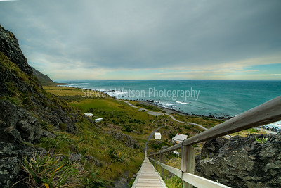 Descending from Cape Palliser lighthouse