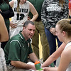 STAN HUDY - SHUDY@DIGITALFIRSTMEDIA.COM<br /> Greenwich coach Jason Slater talks to his Witches bench during a time out duirng their Class C preliminary game at Greenwich HIgh School. Feb. 20, 2018.