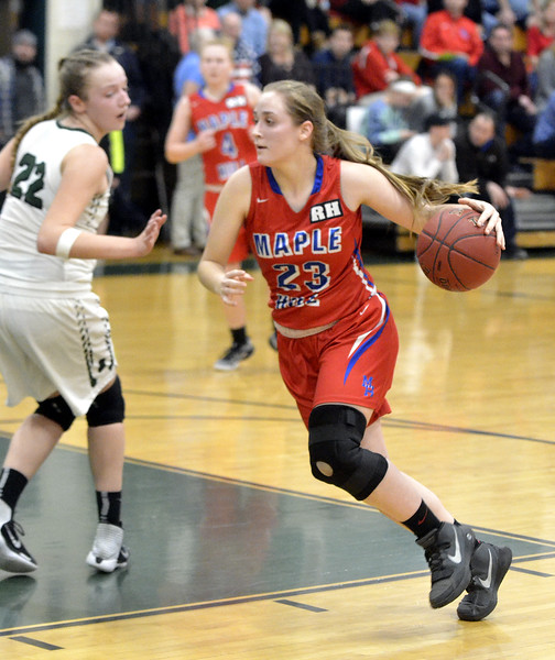 STAN HUDY - SHUDY@DIGITALFIRSTMEDIA.COM<br /> Maple Hills' Lydia Chittenden looks to drive the lane agaiinst Greenwich in their Class C preliminary game at Greenwich HIgh School. Feb. 20, 2018.