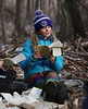 HOLLY PELCZYNSKI - BENNINGTON BANNER Pernilla Borgia reads outloud to the class on Monday morning during an outdoor classroom set block. The outdoor classroom was created in 2018 for Maple Street Students for all areas of study. The trail is used by all the students at Maple Street School at least three times a week.