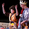 HOLLY PELCZYNSKI - BENNINGTON BANNER Sixth grader John Firestone points his fingers in the air as he enters The medieval dinner which is held as a celebration to mark the end of a month long study of medieval times at Maple Street school in Manchester.