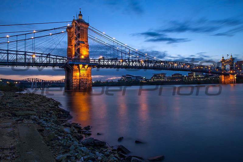 Rich Sears  Suspension Bridge at Twilight  Lustre  13 x 15  $80  timetravelerxiv@gmail.com  513 324-5643