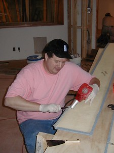 1999-02-17 skip warrington, designer, working on fiberglass sills