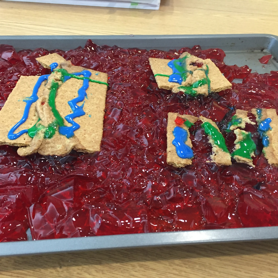Plate tectonics in action - all you need is a little jello and graham crackers!