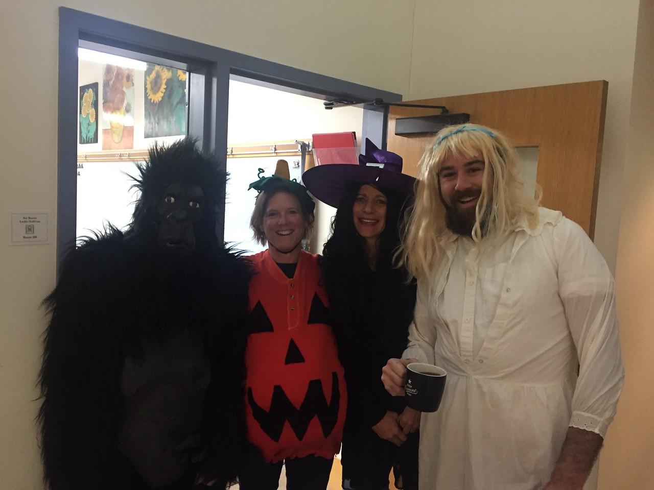 A gorilla, a pumpkin, a witch and Goldilocks walk into the school...