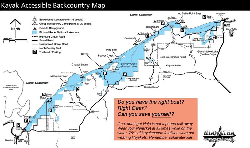 Pictured Rocks National Lakeshore (Kayak Accessible Backcountry Map)