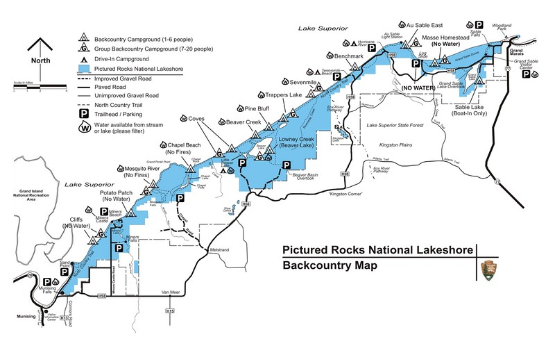 Pictured Rocks National Lakeshore (Backcountry Map)