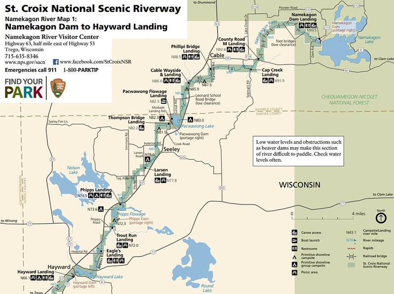 St. Croix National Scenic Riverway (Map 1 - Namekagon Dam to Hayward Landing)