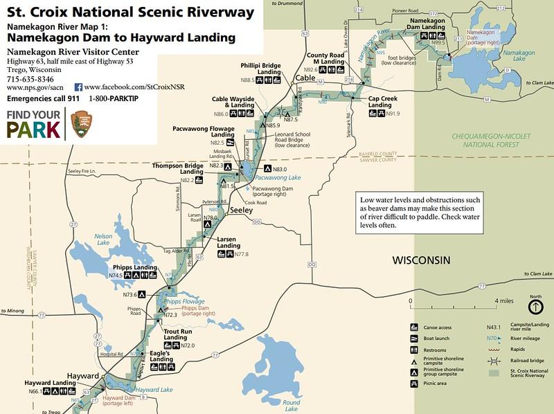 St. Croix National Scenic Riverway (Map 1 - Namekagon Dam to Hayward Landing)