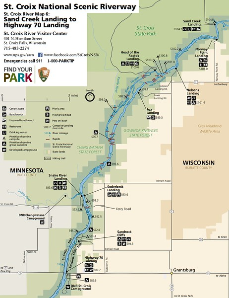 St. Croix National Scenic Riverway (Map 6 - Sand Creek Landing to Highway 70 Landing)