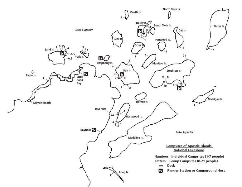 Apostle Islands National Lakeshore (Campsite Location Map)