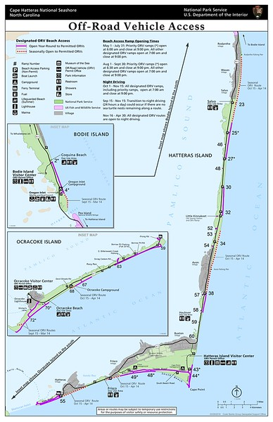 Cape Hatteras National Seashore (Off-Road Vehicle Access Map)