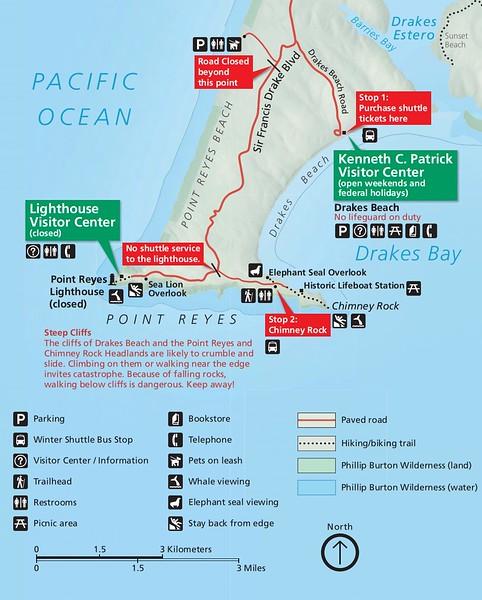 Point Reyes National Seashore (Shuttle Bus Road Closure Map)