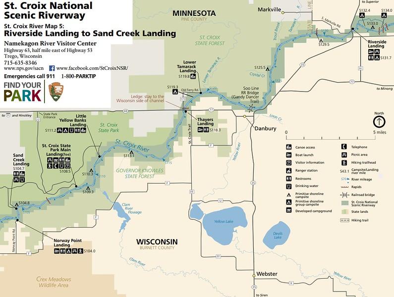St. Croix National Scenic Riverway (Map 5 - Riverside Landing to Sand Creek Landing)