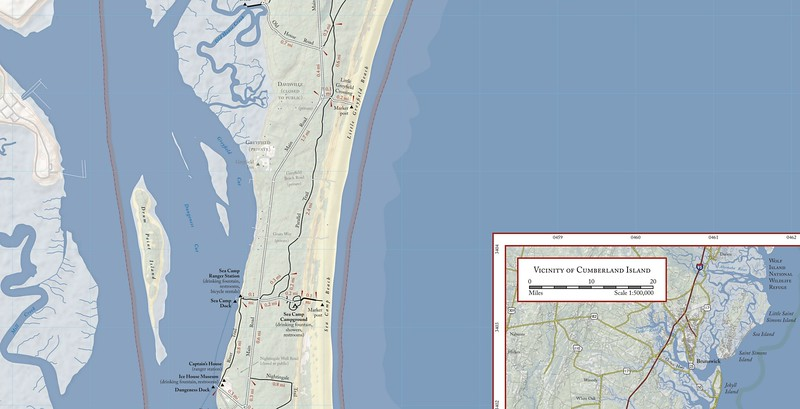 Cumberland Island National Seashore (Trail Map - South Central)