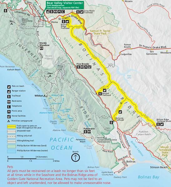 Point Reyes National Seashore (Dog Areas - Bolinas Ridge)