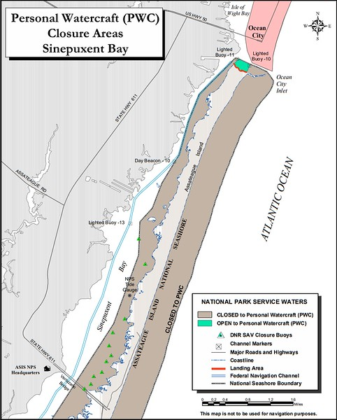 Assateague Island National Seashore (Personal Watercraft Closure Areas - Maryland District)