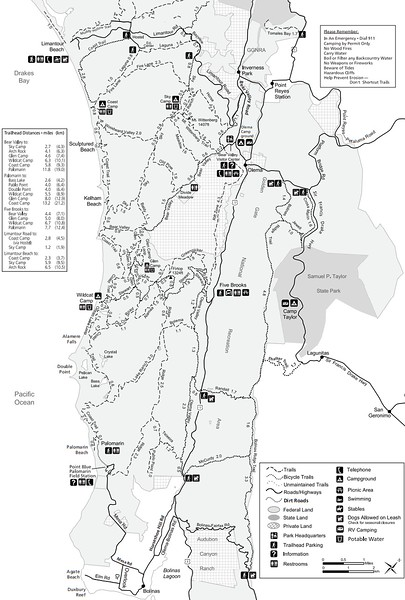 Point Reyes National Seashore (Trails - South District)