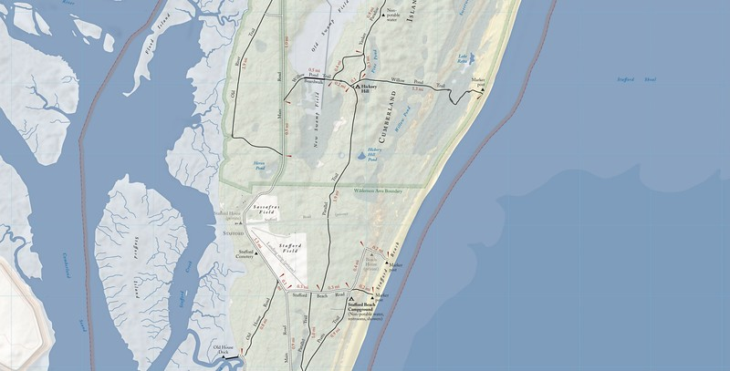 Cumberland Island National Seashore (Trail Map - Central)