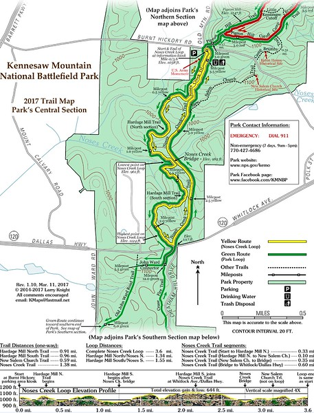 Kennesaw Mountain National Battlefield Park (Trail Map - Central)