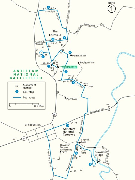 Antietam National Battlefield (Monument Locator Map)