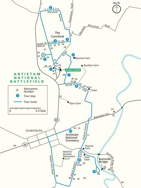 Antietam National Battlefield (Monument Locator Map)
