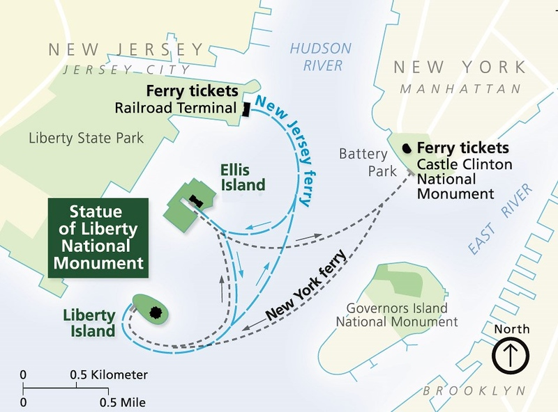 Statue of Liberty National Monument -- Liberty Island (Location Map)