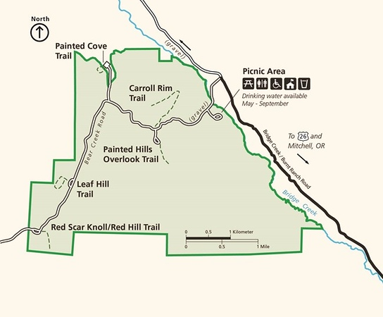 John Day Fossil Beds National Monument (Painted Hills Unit - Trail Map)