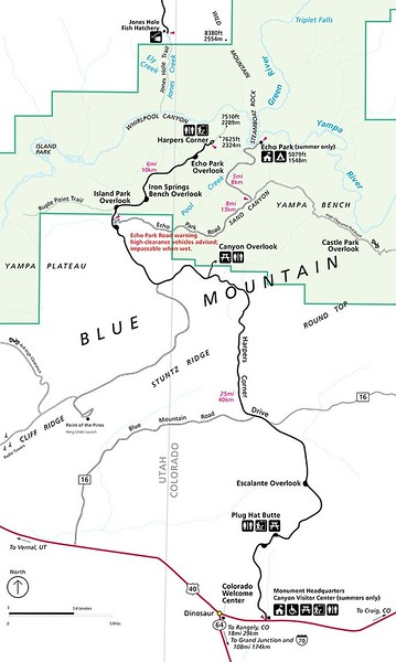 Dinosaur National Monument (Harpers Corner Scenic Drive Map)
