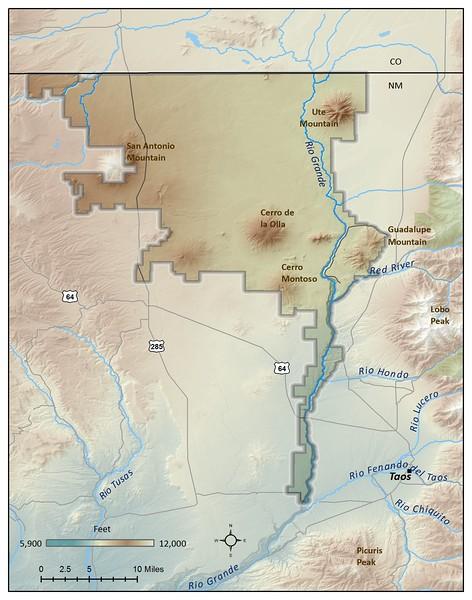 Rio Grande del Norte National Monument (Natural Features Map)