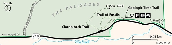 John Day Fossil Beds National Monument (Clarno Unit - Trail Map)
