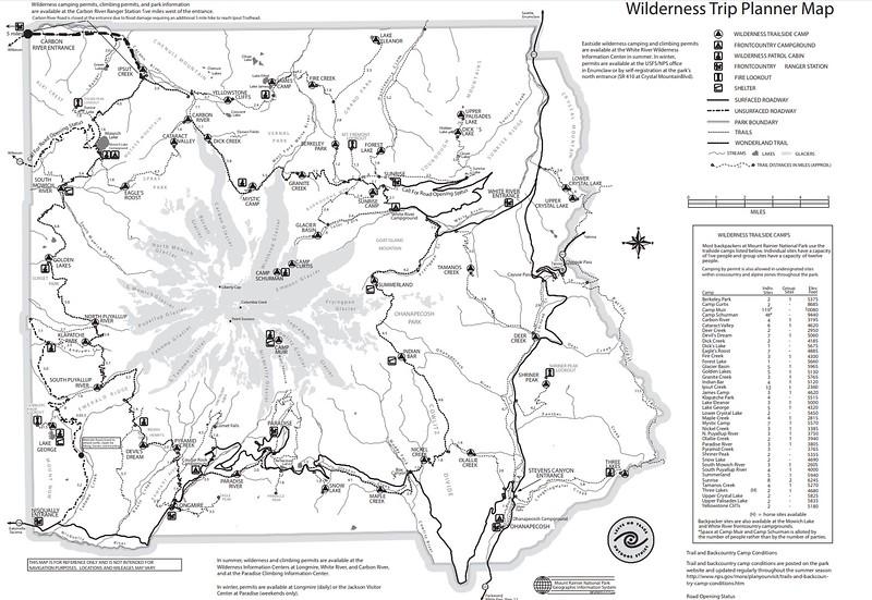 Mount Rainier National Park (Wilderness Trip Planner Map)