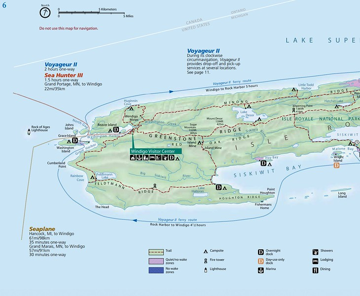 Isle Royale National Park (Trail Map - West)