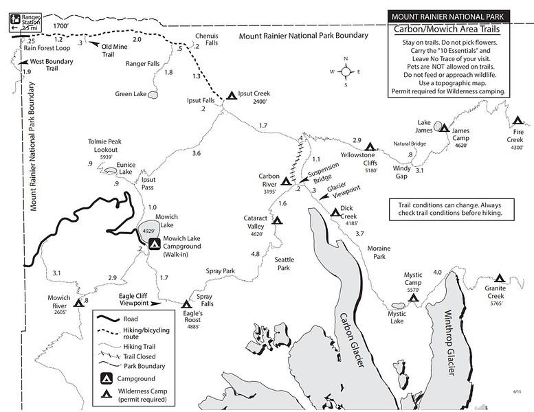 Mount Rainier National Park (Trails - Carbon/Mowich Area)
