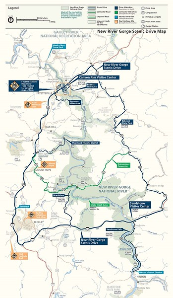 New River Gorge National Park and Preserve (Scenic Drive Map)