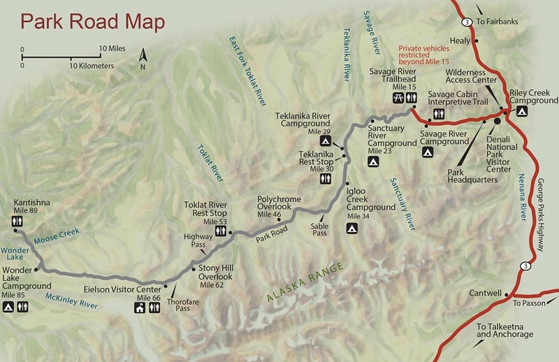 Denali National Park and Preserve (Park Road Map)